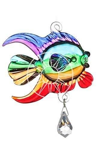 Handgefertigt Fantasy Glass Rainbow Fisch Kristall Suncatcher in Geschenkbox