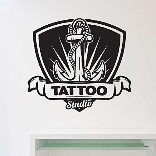 guijiumai Tattoo Studio Wand Fenster Aufkleber Arbeitsbereich Raumdekoration Shop Salon Logo Aufkleber Vinyl Kunstwand Abnehmbare Und Reine Farbe weiß 63X57 cm