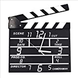 Wooden Movie Clapper Clock Electronic Mute Living Room Hairdressing Shop Wall Clock Light Transmittance High Color Soft Wearable