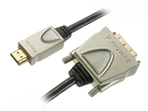 Vivanco HQ Audio-/Videokabel, HDMI Stecker <-> DVI-D Stecker, 24k vergoldete Kontakte, Vollmetallstecker, 1,5m
