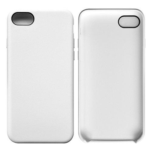 iPhone 7 / iPhone 8 Case Tasche HandyHülle Ultra-dünne Leder-Muster Slim Silikon Case Leicht TPU Ultra Thin Soft Stoßfest Shockproof Staubdicht Schutzhülle Covers Sleeve Leder für iPhone 7 / iPhone 8 Weiß