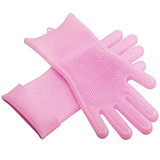 Asiv Magic Silicone Gloves, Silicone Cleaning Brush Scrubber Gloves for Dishwasher, Kitchen, Home, Bathroom, Car Wash, Pet Hair Care bright pink