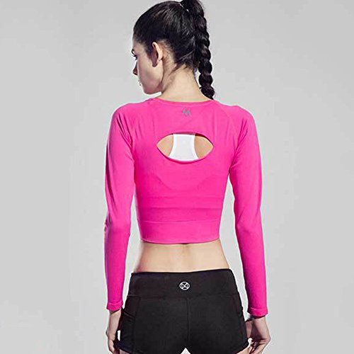 2339b5d143c90 Yabliss Women Workout Crop Top Back Hollow Long Sleeve T-Shirts Yoga  Running Sports Fitness ...