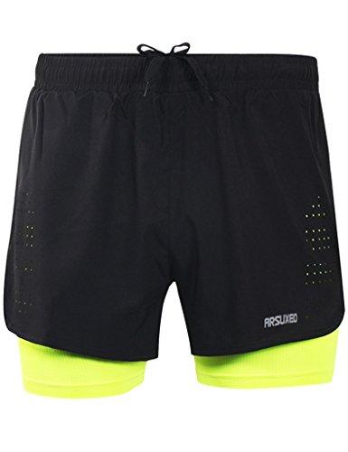 Sport Hose Kurz Fitness Shorts Schwarz + Grün - M ()