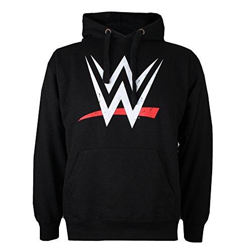 WWE Herren Logo Kapuzenpullover, Schwarz (Black BLK), S - Gewaschen Logo Mens Hoodie