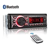 MEKUULA Autoradio avec kit Mains-Libres Bluetooth 60 W x 4 Single Din Universel FM Récepteur Intégré Microphone Lecteur MP3 Universel Prise en Charge USB/TF/AUX/WMA/WAV + Télécommande