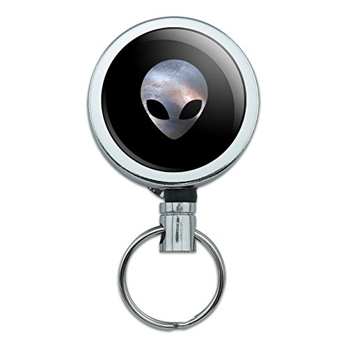 Alien Kopf in Platz Heavy Duty Metall Retractable Reel ID Badge Key Card-Tag Halter mit Gürtelclip