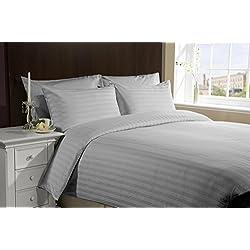 [Hachette] 3[Satin Streifen grau Silber/Super King Size] 400Fadenzahl 100% ägyptische Baumwolle Bettbezug Bettwäsche-Set mit Kissenbezügen 400TC,
