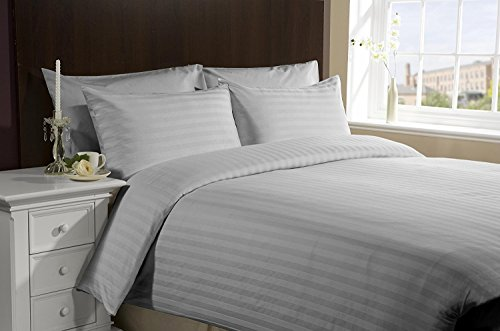 [Hachette] 3[Satin Streifen grau Silber/Super King Size] 400Fadenzahl 100% ägyptische Baumwolle Bettbezug Bettwäsche-Set mit Kissenbezügen 400TC, -