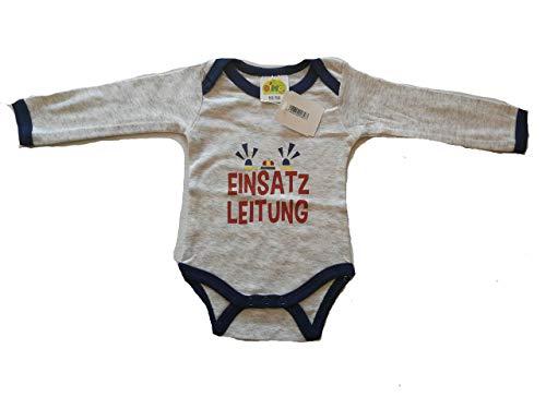 DIMO-TEX Baby-Body Langarm-Body für Jungen 100% Baumwolle Feuerwehr Einsatzleitung blau grau meliert Spruch-Body mit Druck-knöpfe cool (50/56)