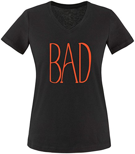 EZYshirt® BAD Damen V-Neck T-Shirt Schwarz/Orange