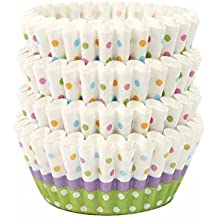 Moldes de papel blanco con lunares para cupcakes magdalenas muffins 100 unds