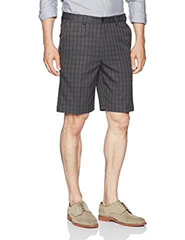 Haggar mens Cool 18 Pro Straight Fit Graphic Windowpane Flat Front Short Flat Front Shorts  - gray