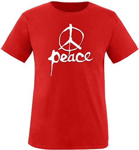 EZYshirt Peace Herren Rundhals T-Shirt Rot/Weiss