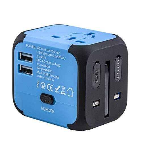 Jamicy Universal Reiseadapter Reisestecker, All-in-One Internationales Netzteil 2,4A Dual USB, Europäischer Adapter Reiseadapter Wandladegerät UK, EU, AU, Asien Für 150 + Länder (Blau)