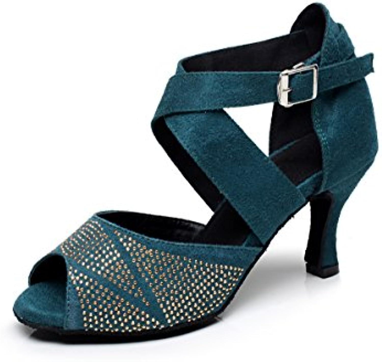 79982ffccf60 MINITOO QJ6232 Women s Women s Women s Buckle Green Suede Ballroom Latin  Salsa Tango Dance Shoes UK 8