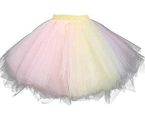 Facent Damen Kurz Tutu Rock Tüllrock Tütü Crinoline Minirock Reifrock Unterrock Kleid Tüll Rosa Gelb
