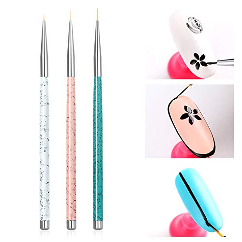 lzndeal 3Pennello unghie d' acqua marmo Liner acrilico penna per unghie Penna di disegno cristallo acrilico Nail Art Pittura Disegno linea strumento di Nail Art Manicure Spazzole per Unghie
