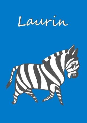 Malbuch/Notizbuch/Tagebuch - Laurin: DIN A 4 blanko mit kleinem Zebra auf jeder Seite