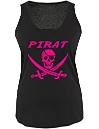 PIRAT KOSTÜM - Damen Frauen Girly Women Tank Top Shirt Gr. S bis XL Diverse Farben