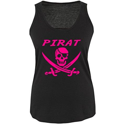 Comedy Shirts PIRAT KOSTÜM - Damen Tank Top Shirt Schwarz/Pink Gr. ()