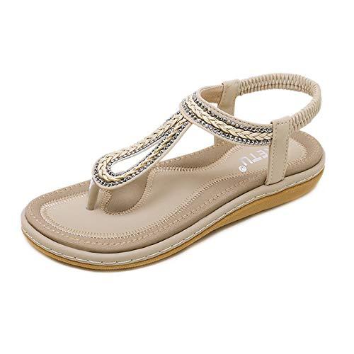 YAOkxin Frauen Flache Sandalen, Casual Clip Toe Gummiband Größe Sommer Strand Schuhe böhmischen Stil, geeignet für den täglichen Gebrauch, zu Hause, Urlaub,Apricot,41