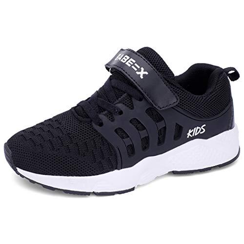 Unpowlink Kinder Schuhe Sportschuhe Ultraleicht Atmungsaktiv Turnschuhe Klettverschluss Low-Top Sneakers Laufen Schuhe Laufschuhe für Mädchen Jungen 28-37, 920-schwarz, 34 EU