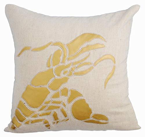 Beige kissenbezug, Meeresbewohner Ocean und Strand-Thema Metallisches Leder Applique kissenhüllen, 50x50 inch sofakissenbezüge, Bettwäsche aus Baumwolle dekokissen - Gold Lobster