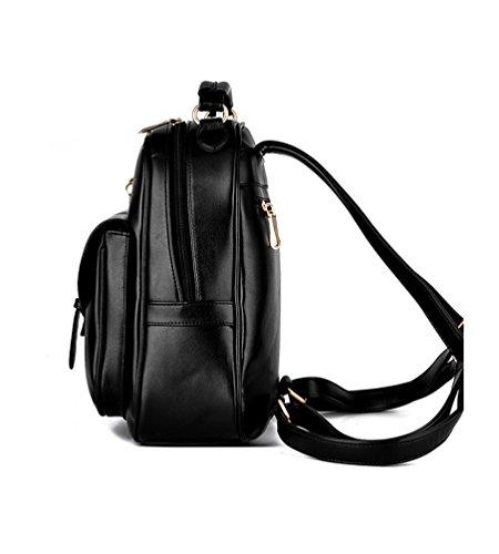 CHENGYANG Sac À Dos Pu Cuir Pour Femmes Filles Zipper Casual Sacs Épaule Noir#1