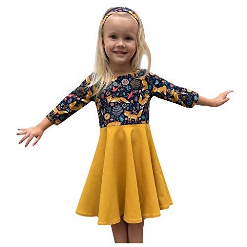 Mädchen Kinder Cartoon Fuchs Drucken Patchwork Prinzessin Kleid Für Baby Mädchen Trend Print Langarm Skaterkleid Geburtstag Abschlussball Erstkommunion Kommunions Fest Ballkleid Festlich Kleid (Halloween Bingo Drucken)