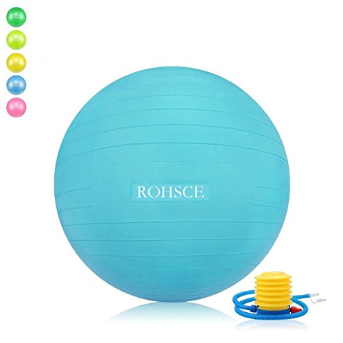 ROHSCE - Pelota de Ejercicio Antideslizante con Bomba rápida, Bola de Yoga, 55 cm/65 cm/75 cm/85 cm, Extra Gruesa, Resistente, Color Turkis, tamaño 55cm(Fits 1.42m-1.61m), 3.31