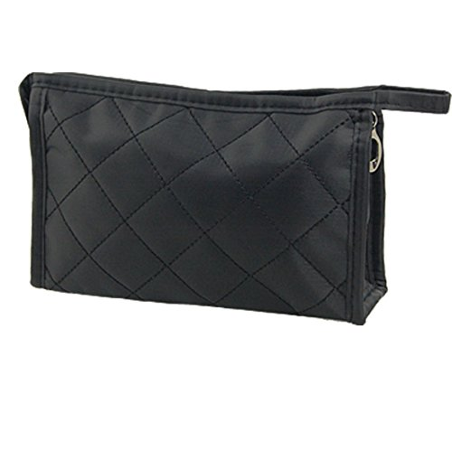 Noir Grille Motif cosmétique Make Up Petit sac à glissière