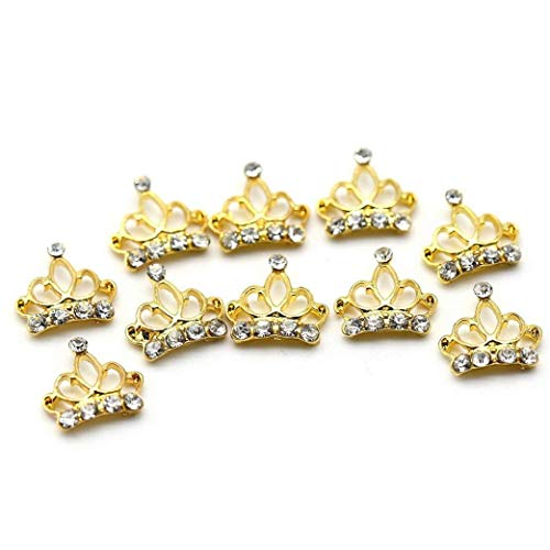 TOSSPER 10pcs Legierung 3D Strass Golden Crown Nagel-Kunst spitzt Scheibe-DIY Dekoration - Ace-legierung