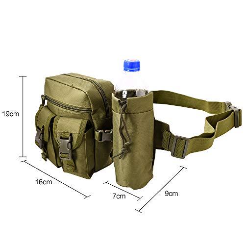 HoYiXi Tragbar Taktisch Hüfttasche mit Trinkflasche Behälter Gürteltasche zum Wandern Radfahren Klettern Angeln Wasserdicht militärisch Taille Gürtel Multifunctional Bauchtasche - Armeegrün