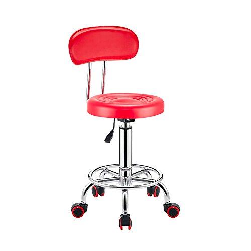 Einstellbare höhe Leder barhocker, Barhocker rückenlehne Küchenstuhl 360-grad-drehung Hochelastischem Schaumstoff Salon Stuhl-Rot