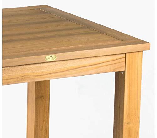 Wood-en-Stock Table de Salon Bois Exotique Teck Massif 90 cm x 90 cm