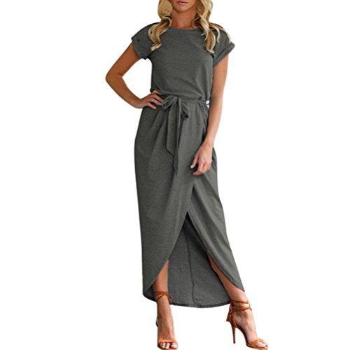 oho Langes Maxikleid Abend Partei Strand Kleidet Sundress Kostüm mit Einem Körper, der Gurt formt(Grau,EU-42/CN-L) (Audrey Hepburn Kleines Mädchen Kostüm)