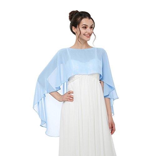 Cocogirls stola in chiffon per abiti in diversi colori, adatta a qualsiasi abito da sposa, da sera, da matrimonio, da gala o ricevimento azzurro taglia unica