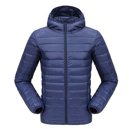 down jacket Piumino_Piumino da Uomo Ultraleggero con Cappuccio, Sport all'Aria Aperta, Turismo, Campeggio, Sci Accucciarsi Abiti Invernali Nero Grigio Blu XL 2XL