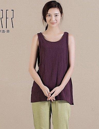 CBIN&HUA Blusa Da donna Senza maniche Cotone/Lino , purple-one-size , purple-one-size