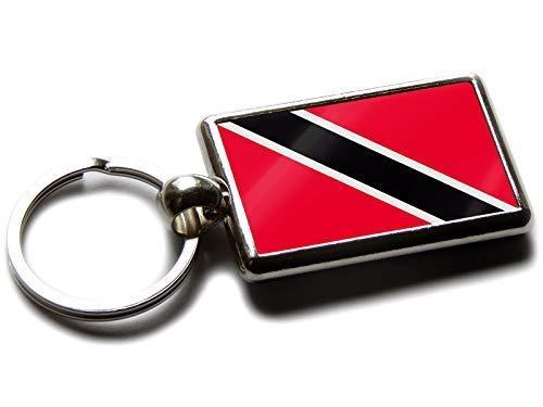 Flag of Trinidad und Tobago National Farben Hochwertig Chrom Schlüsselring Bild Beide Seiten