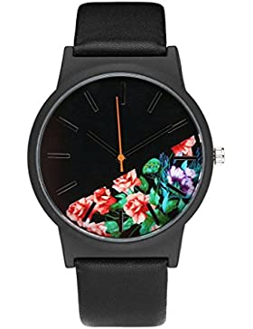 JSDDE Uhren,Strauchpäonie Blumen Damen Armbanduhr Basel-Stil Quarzuhr PU Lederband Zeitloses Design,Schwarz