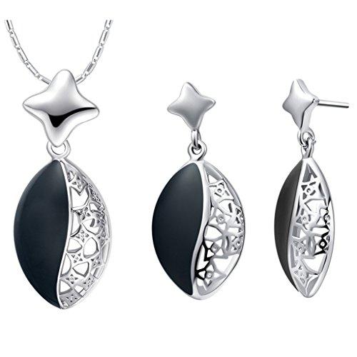 KNSAM Collar Plata Mujer, Conjunto de Collar Pendientes, Marquesa Aceite Negro Cristal Juego de Joyas