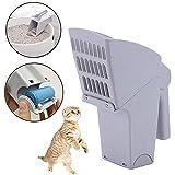 MEKEET Cat Litter Scoop, Simple Cat Litter Shovel Easy Clean Pet Scoop with Waste Bags for Pets(Grey)