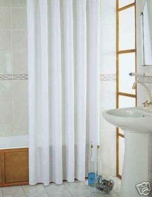 Textil Duschvorhang Weiss Überlänge 215x200cm ~ Inkl. Ringe ~ Eingearbeitete Gewichtskordel