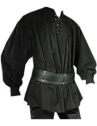 Mittelalter Piratenhemd mit Stehkragen, schwarz, Größen S - XXL