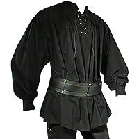 Traje Medieval - Camisa Pirata - Jonas - Negro - XXL