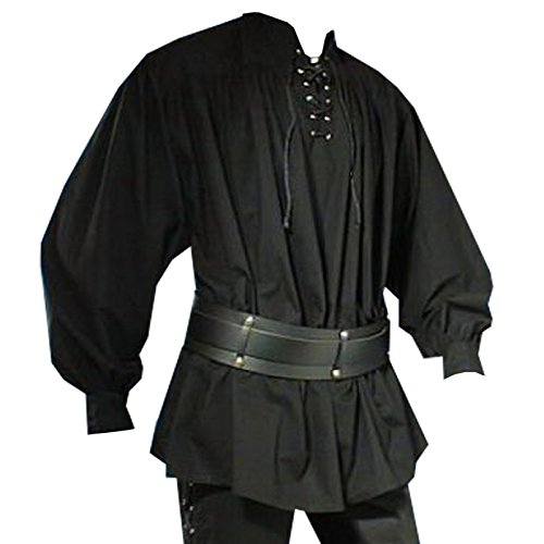 Mittelalter Piratenhemd mit Stehkragen, schwarz, Größe (Schwarze Kostüm Shirt Piraten)