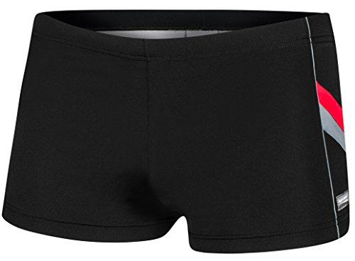 AQUA-SPEED® Herren Badehose | Schwimmhose | S-XXXL | Modern | Perfect Fit | UV-Schutz | Chlor resistent | Kordelzug 17. Black - Red - Gray
