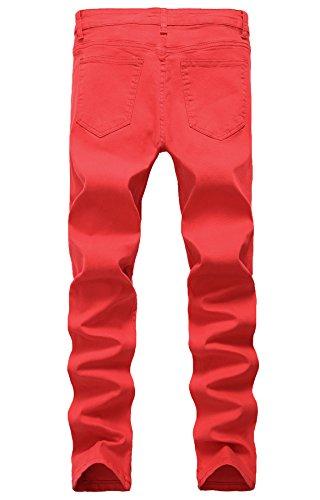 LILBETTER Männer Slim Fit Stretch Destroyed Jeanshose Denim Jeans Hose Rot